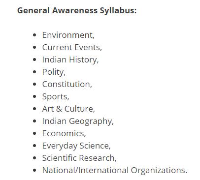general awareness& gk syllabus