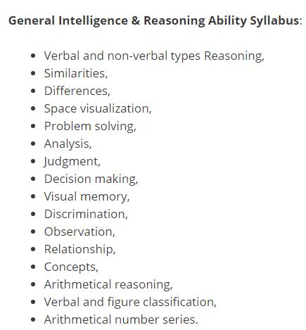 general intelligence and reasoning ability syllabus