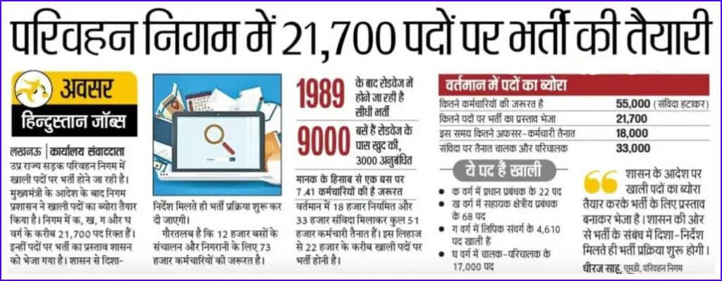 UPSRTC Vacancy 2021 10000 posts bharti