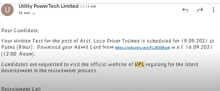 UPL Exam Date 2021 -- UPL Admit Card 2021 - Utility Power Tech