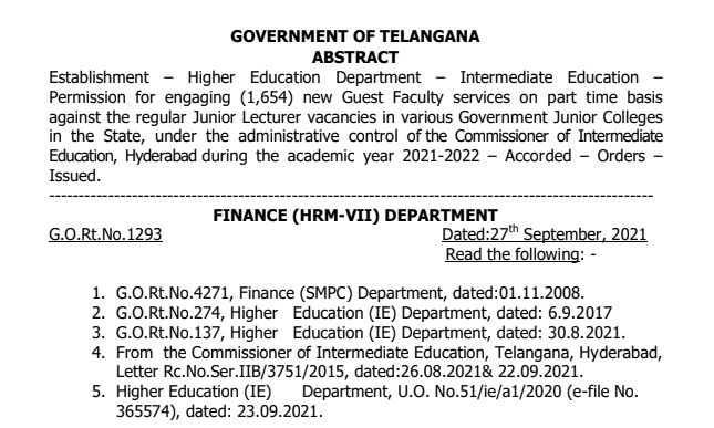 ts guest faculty in govt junior colleges